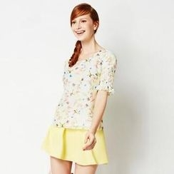 O.SA - Short-Sleeve Printed Chiffon Top