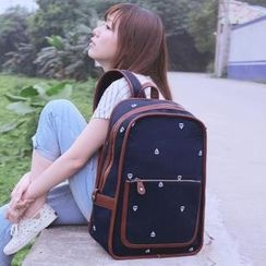 SUPER LOVER - Faux-Leather Trim Boat Print Canvas Backpack