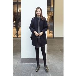 CHERRYKOKO - Stand-Collar Buttoned Wool Blend Coat