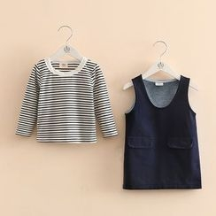 Seashells Kids - Kids Set: Striped Long-Sleeve T-Shirt + Denim Pinafore Dress