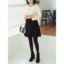 LOLOten - Lace-Hem A-Line Mini Skirt