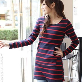 Flower Idea - Long-Sleeve Stripe Tunic