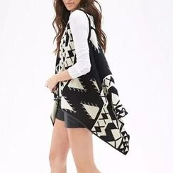 Chicsense - Sleeveless Patterned Long Knit Cardigan