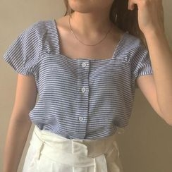 MATO - Striped Short Sleeve Buttoned Blouse