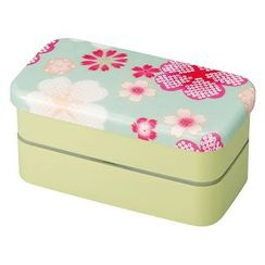 Hakoya - Hakoya Nunobari Rectangular 2 Layers Lunch Box S Yume Sakura (Green)