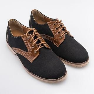 Free Shop - Faux Leather-Panel Canvas Oxfords