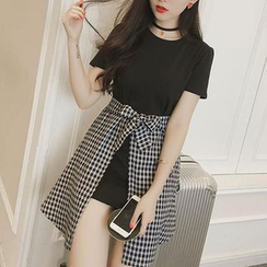 Sakura Rain - Mock Two-Piece Check Dress