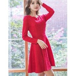 Dowisi - Scallop Neckline Long Sleeve A-Line Dress