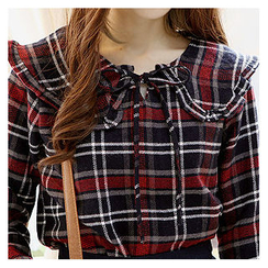 Sechuna - Tie-Front Plaid Top