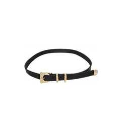 DABAGIRL - Engraved Buckle Faux-Leather Belt