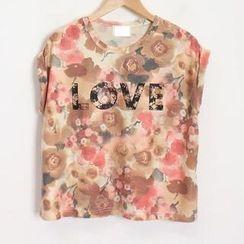 Momewear - Floral Lettering T-Shirt