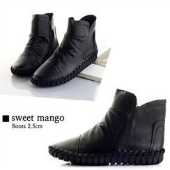 SWEET MANGO - Shirred Genuine-Leather Ankle Boots