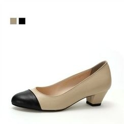 MODELSIS - Genuine Leather Contrast-Trim Pumps