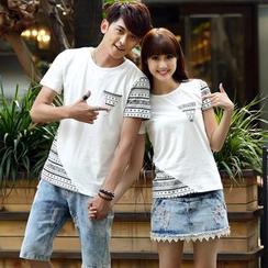 NoonSun - Couple Matching Patterned Short Sleeve T-Shirt
