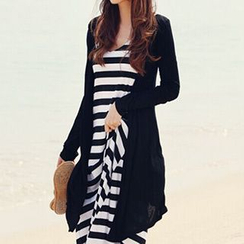 Jolly Club - Set: Long Cardigan + Striped Tank Dress