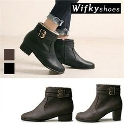 Wifky - Buckled Faux-Fur Lined Ankle Boots (2 Designs)