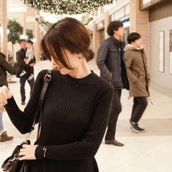 mimi&didi - Rib-Knit A-Line Mini Dress
