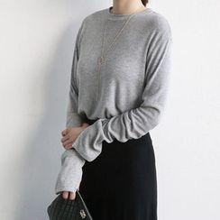 NANING9 - Crewneck Slit-Cuff T-Shirt