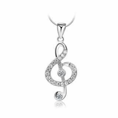BELEC - 925 Sterling Silver Music Note Pendant with White Cubic Zircon and Necklace - 45cm