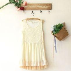 11.STREET - Lace Panel Chiffon Tank Dress