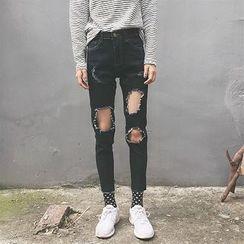 CosmoCorner - Distressed Cropped Slim-Fit Jeans