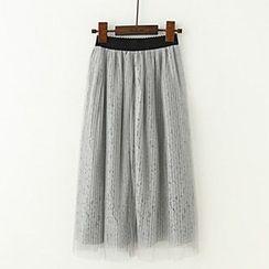 Meimei - Lace Pleated Midi Skirt