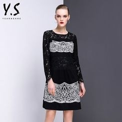 Y:Q - Lace Panel Long-Sleeve A-Line Dress