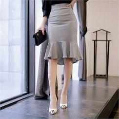 CHICLINE - Ruffle-Hem Skirt
