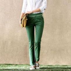 Inman - Embroidered Floral-Trim Slim-Fit Pants