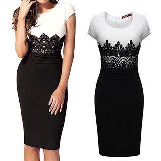 Rebecca - Short-Sleeve Lace Panel Sheath Dress