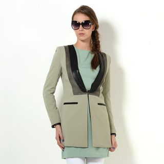 YesStyle Z - Faux-Leather Trim Color-Block Jacket