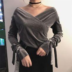 HL哈喽妹妹 - V领长袖系带袖口上衣