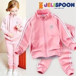 JELISPOON - Kids Set: Contrast-Trim Zip-Up Jacket + Sweatpants