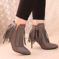 IYATO - 流苏鞋跟及踝靴