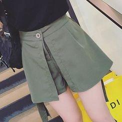 Girl Next Door - Mock Two-Piece Wide-Leg Shorts