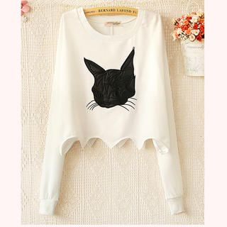 Ringnor - Scalloped-Trim Cat-Appliqué Cropped Pullover