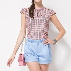 O.SA - Set: Tie-Neck Patterned Top + Shorts