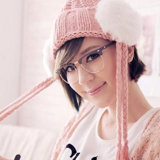 Cuteberry - Pompom-Accent Earflap Knit Beanie