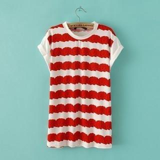 JVL - Cuffed Flower-Print T-Shirt