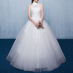 Luxury Style - Lace Appliqué Sleeveless Wedding Ball Gown