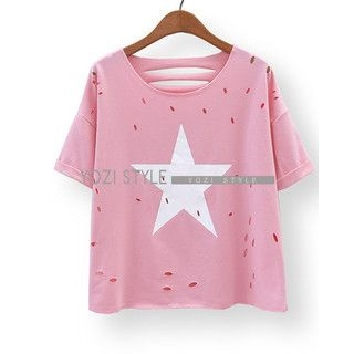 YOZI - Short-Sleeve Star Print Cutout T-Shirt