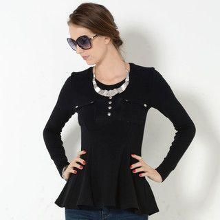 YesStyle Z - Long-Sleeved Buttoned Peplum Top
