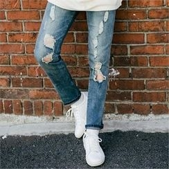 STYLEMAN - Cut-Off Detailed Jeans