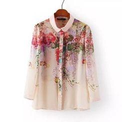 JVL - 3/4-Sleeve Floral Chiffon Blouse