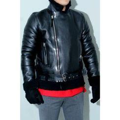 Ohkkage - Fleece-Lined Faux-Leather Biker Jacket