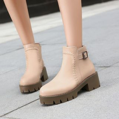 Pretty in Boots - Block Heel Buckled Short Boots