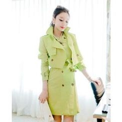 vivaruby - Flap-Front Double-Breasted Trench Coat