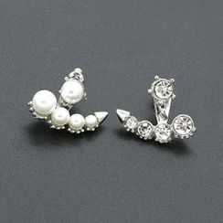 Cheermo - Faux Pearl Rhinestone Asymmetric Ear Jackets