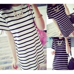 YOSH - Stripe Short-Sleeve T-shirt Dress