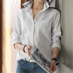 CHICFOX - Lettering Collar Polka-Dot Shirt